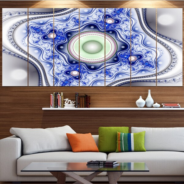 Designart 'Blue on White Pattern with Circles' Abstract Canvas Wall Art