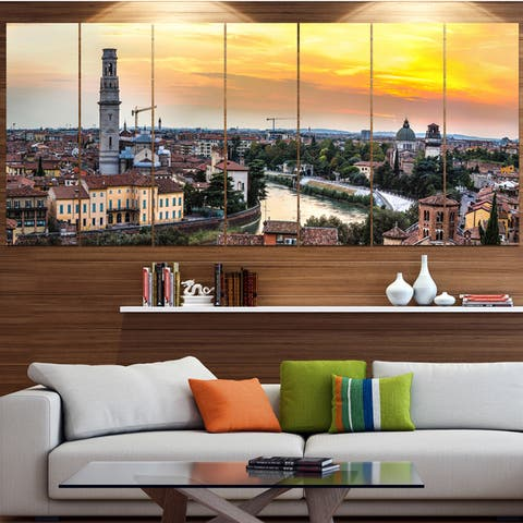 Designart 'Verona at Sunset in Italy' Cityscape Canvas Wall Art - Multi-color