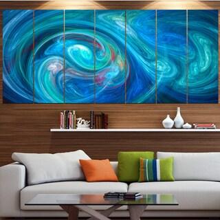 Designart 'Dark Blue Fractal Abstract Texture' Abstract Canvas Wall Art