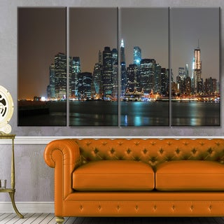 Designart 'Evening New York Panorama' Cityscape Canvas Wall Art