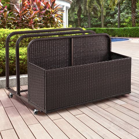 Palm Harbor Brown Steel/ Wicker Outdoor Float Caddy