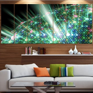 Designart 'Bright Blue Solar Bubbles Planet' Abstract Canvas Wall Art