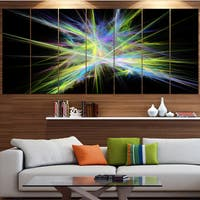 Designart 'Yellow Blue Chaos Multicolored Rays' Abstract Canvas Wall Art