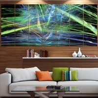 Designart 'Green Blue Magical Fractal Pattern' Abstract Canvas Wall Art