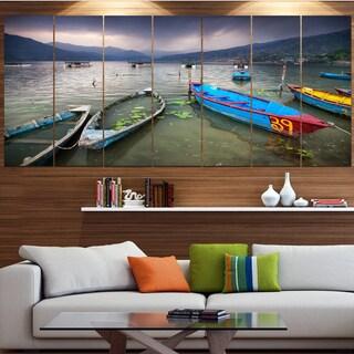 Designart 'Boats near Pokhara Lake' Boat Canvas Wall Art