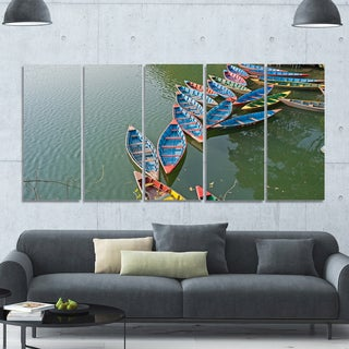 Designart 'Phewa Lake in Pokhara Nepal' Boat Wall Artwork on Canvas