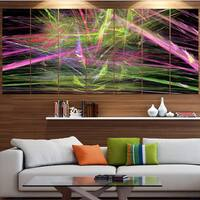 Designart 'Green Pink Magical Fractal Pattern' Abstract Canvas Wall Art
