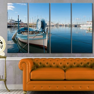 Designart 'Yachts in Toulon Port, France' Boat Wall Artwork on Canvas
