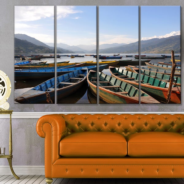 Designart 'Colorful Boats Pokhara Lake' Boat Canvas Artwork - Multi-color