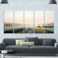 Designart 'Moving Boats in Mountain Lake' Boat Canvas Artwork