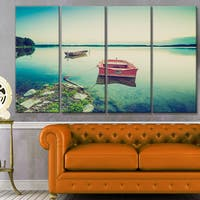 Designart 'Beautiful Lake Vintage View' Boat Canvas Artwork