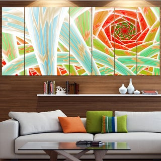 Designart 'Red Fractal Endless Tunnel' Abstract Artwork on Canvas