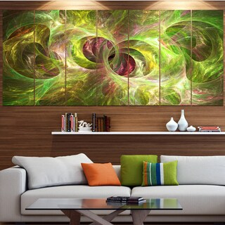 Designart 'Yellow Fractal Ornamental Glass' Abstract Artwork on Canvas