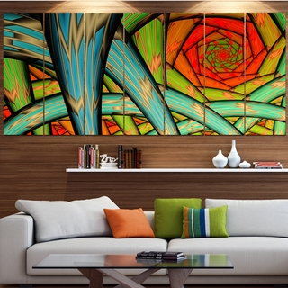 Designart 'Green Fractal Endless Tunnel' Abstract Artwork on Canvas