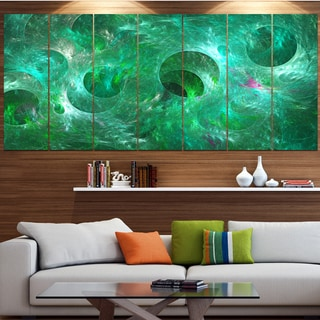 Designart 'Green Fractal Glass Texture' Abstract Artwork on Canvas
