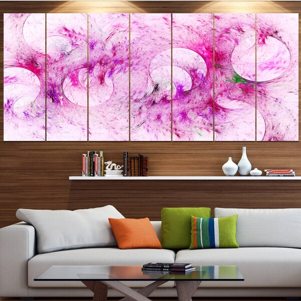 Designart 'Pink White Fractal Glass Texture' Abstract Artwork on Canvas
