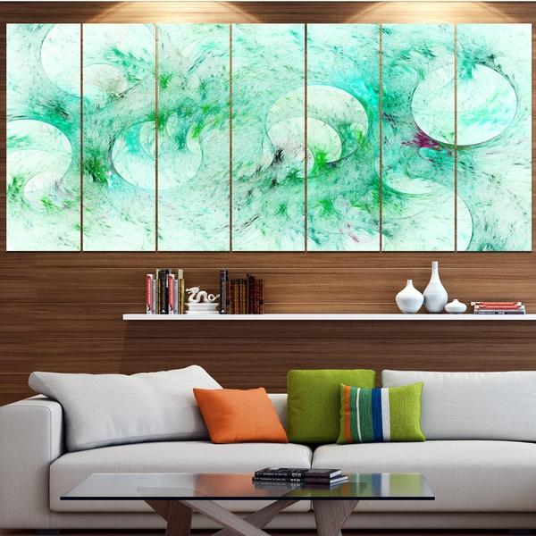 Designart 'Green Circles Fractal Texture' Abstract Artwork on Canvas