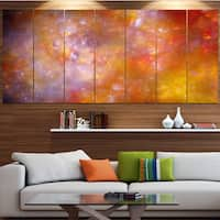 Designart 'Yellow Starry Fractal Sky' Abstract Artwork on Canvas