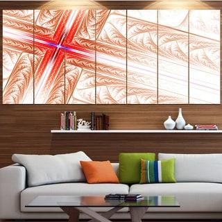 Designart 'Red Fractal Cross Design' Abstract Art on Canvas