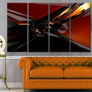 Designart '3D Abstract Red Glass Design' Abstract Artwork on Canvas