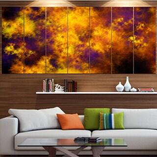 Designart 'Cloudy Orange Starry Fractal Sky' Abstract Artwork on Canvas
