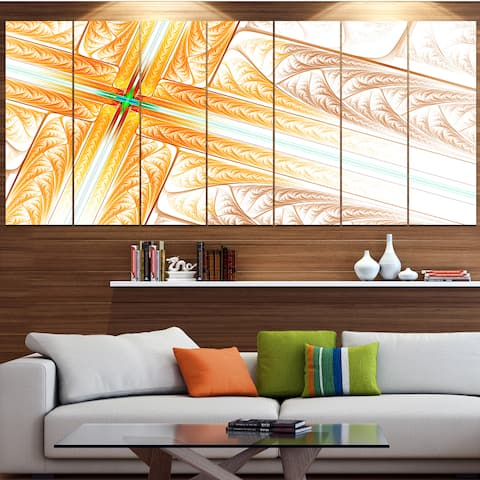 Designart 'Brown Fractal Cross Design' Abstract Art on Canvas