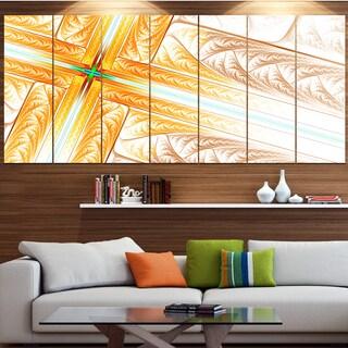 Designart 'Brown Fractal Cross Design' Abstract Art on Canvas