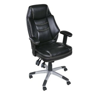 OneSpace 60-5835 Jefferson Plush Executive Chair with Adjustable Padded Armrests, Black
