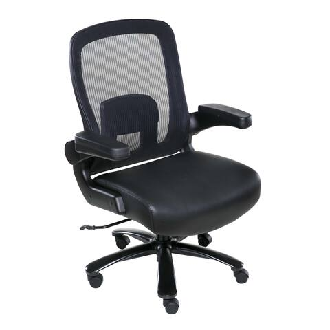 OneSpace 60-5605T Taft Mesh Back Oversized Executive Chair with Pocket Coil Seat Cushioning, Black