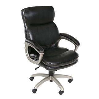 OneSpace 60-5840 Coolidge Plush Executive Chair with Padded Armrests, Black