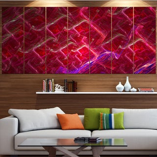 Designart 'Red Fractal Electric Lightning' Abstract Art on Canvas