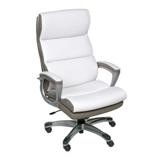 OneSpace 60-583008 Roosevelt High Back Two-Tone Executive Chair with Padded Armrests, White and Beig