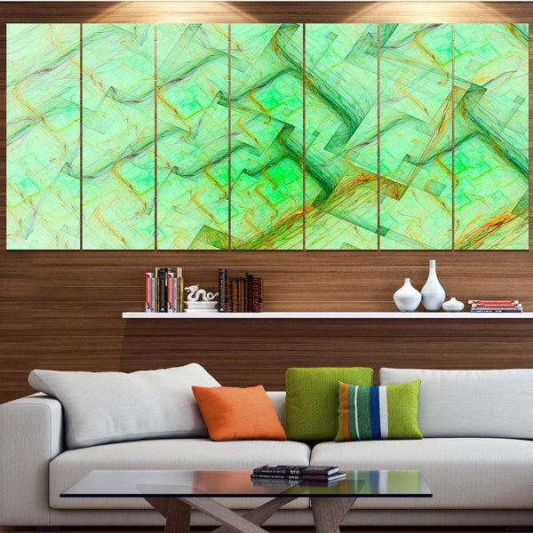 Designart 'Light Green Electric Lightning' Abstract Art on Canvas