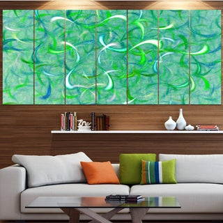Designart 'Green Watercolor Fractal Pattern' Abstract Art on Canvas