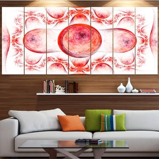 Designart 'Red Exotic Pattern on White' Abstract Art on Canvas
