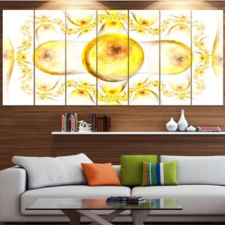 Designart 'Yellow Exotic Pattern on White' Abstract Art on Canvas