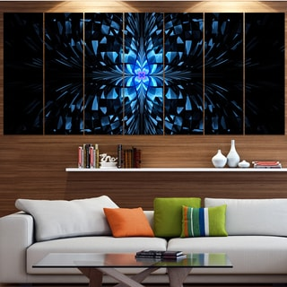 Designart 'Blue Butterfly Pattern on Black' Abstract Art on Canvas