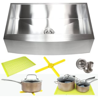 Ariel 16-gauge Stainless Steel 36-inch Farmhouse Single-bowl Curved-apron Kitchen Sink