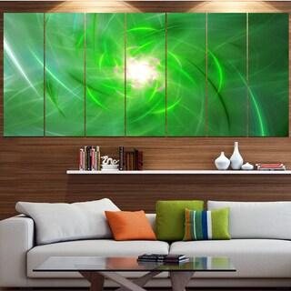 Designart 'Light Green Fractal Whirlpool' Abstract Wall Art Canvas