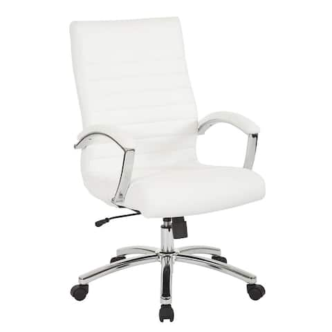 Work Smart Executive Faux Leather Armchair w/ Chrome Base