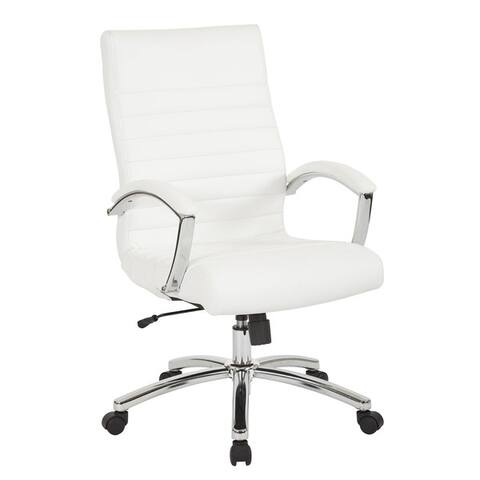 Work Smart Executive Faux Leather Armchair w/ Chrome Base