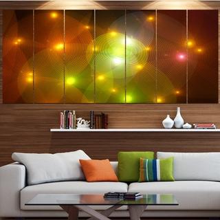Designart 'Golden Fractal Lights in Fog' Abstract Wall Art Canvas