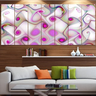 Designart 'Pink Fractal Pattern with Swirls' Abstract Canvas Wall Art