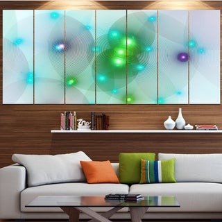 Designart 'Green Fractal Lights in Fog' Abstract Wall Art Canvas