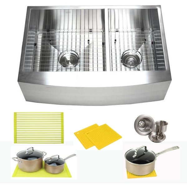 Ariel Stainless Steel 33-inch Double Bowl 60/40 Zero Radius Curved Front Farm Apron Kitchen Sink Combo. Opens flyout.