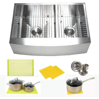 Ariel Stainless Steel 33-inch Double Bowl 60/40 Zero Radius Curved Front Farm Apron Kitchen Sink Combo