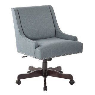 Inspired by Bassett Everton Klein Sea Silvertone Nail-head Trim Office Chair