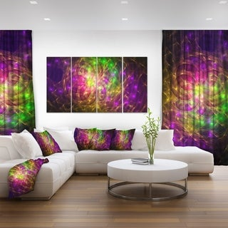 Designart 'Purple Green Symphony of Colors' Abstract Wall Art Canvas