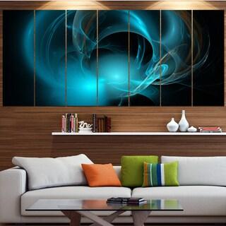 Designart 'Blue Fractal Galactic Nebula' Abstract Wall Art Canvas