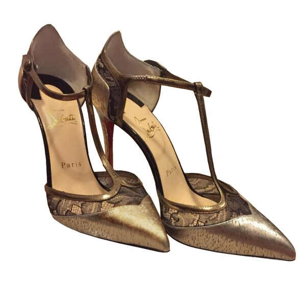 Christian Louboutin Mrs Early 100 Gold T-Strap Pumps
